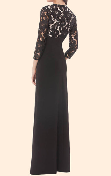 MACloth 3/4 Sleeves Lace Chiffon Long Mother of the Bride Dress Black Formal Evening Gown