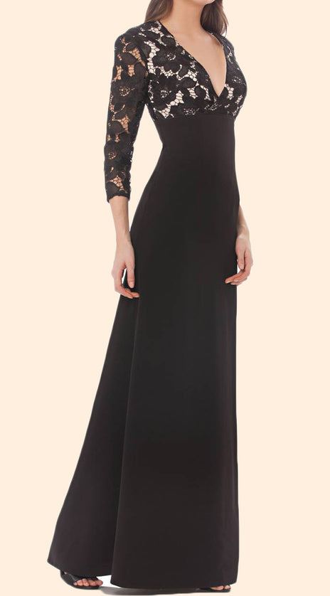 MACloth 3/4 Sleeves Lace Chiffon Long Mother of the Brides Dress Black Formal Evening Gown