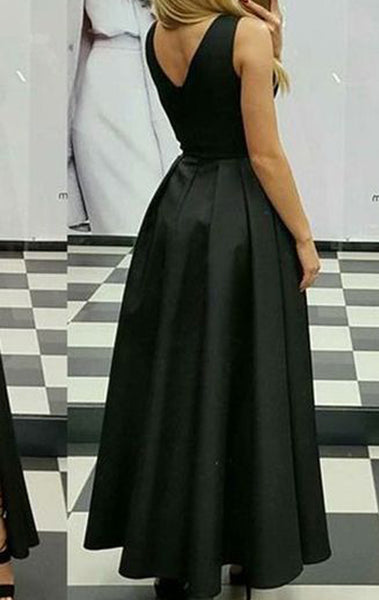 MACloth Deep V Neck High Low Prom Homecoming Dress Satin Black Formal Evening Gown