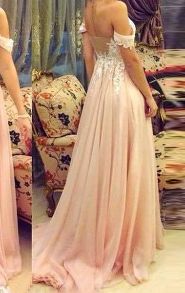 MACloth Off the Shoulder Lace Chiffon Long Prom Dress Pink Formal Evening Gown