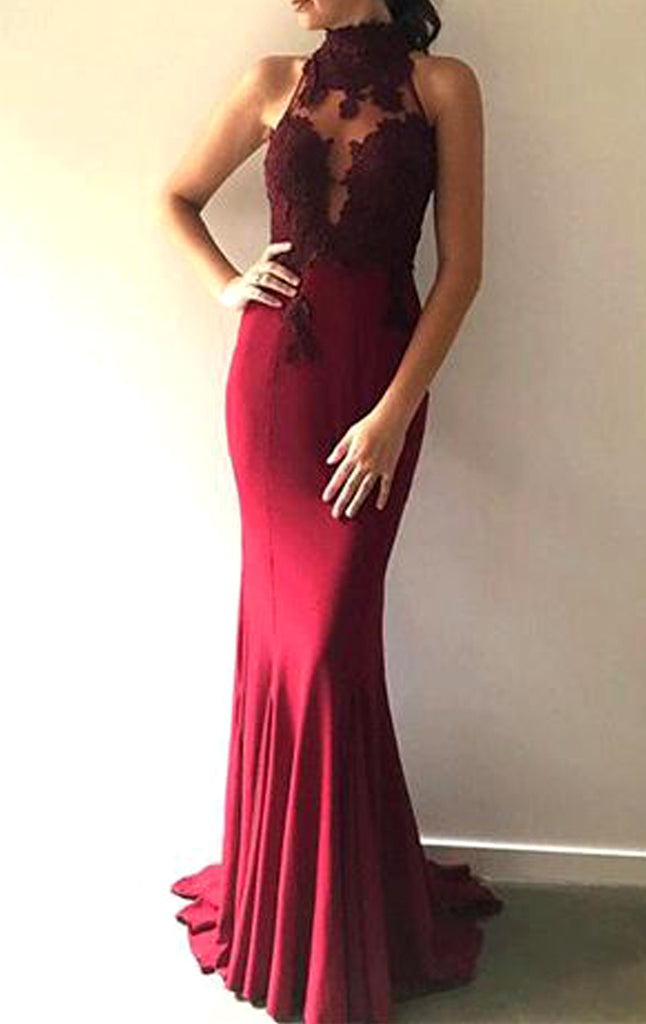 MACloth Mermaid High Neck Lace Jersey Long Prom Dress Burgundy Formal Evening Gown