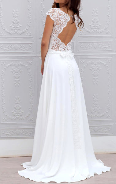 MACloth Cap Sleeves Lace Chiffon Ivory Prom Dress Gorgeous Formal Evening Gown, Bridal Gown 10790