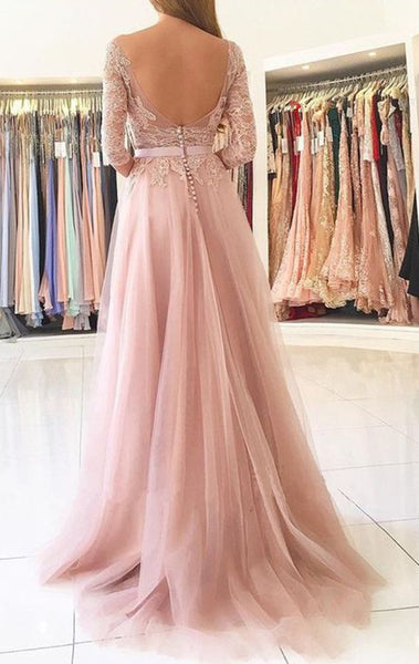 MACloth 3/4 Sleeves Lace Tulle Long Prom Dress Blush Pink Formal Evening Gown