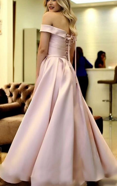 MACloth Off the Shoulder Satin Long Prom Dress Blush Pink Formal Evening Gown