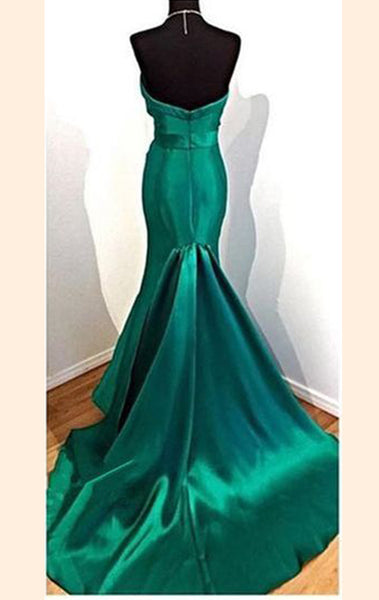 MACloth Mermaid Strapless Sweetheart Long Prom Dress Green Formal Evening Gown