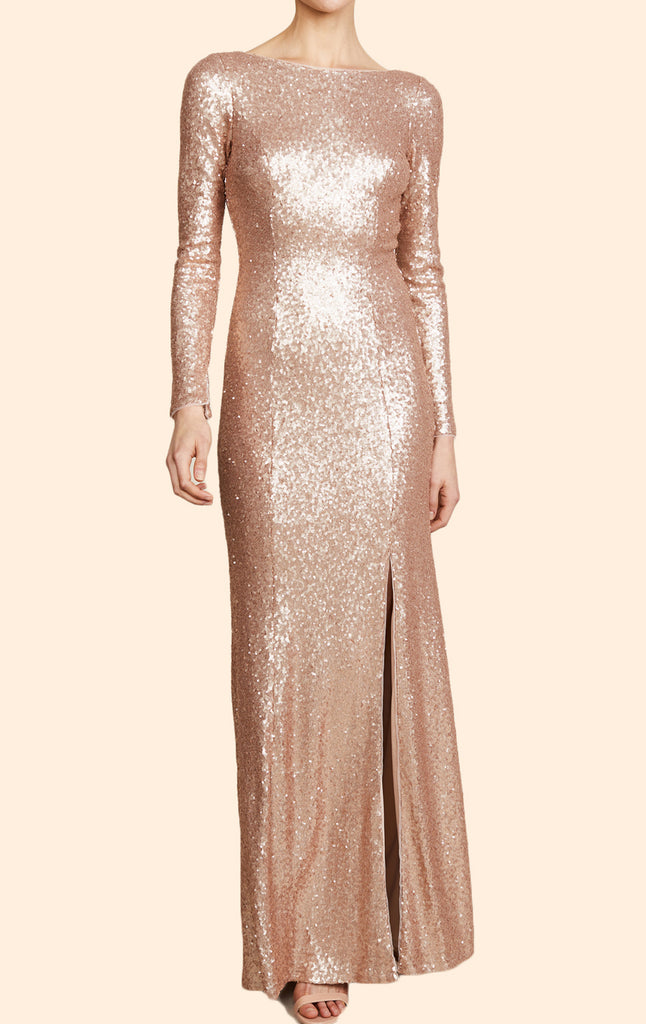 MACloth Long Sleeves Sequin Maxi Prom Dress Champagne Formal Evening Gown