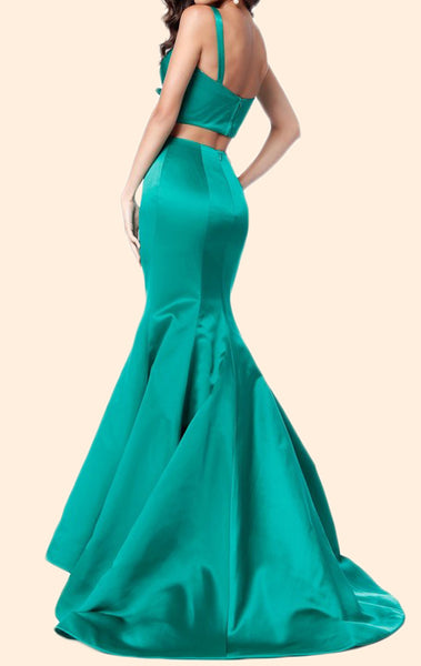 MACloth Mermaid 2 Piece Satin Long Prom Dress Blue Formal Evening Gown
