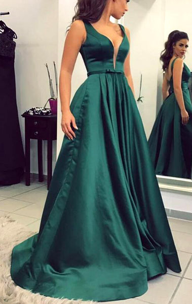 MACloth Straps Deep V Neck Satin Long Prom Dress Dark Green Formal Evening Gown