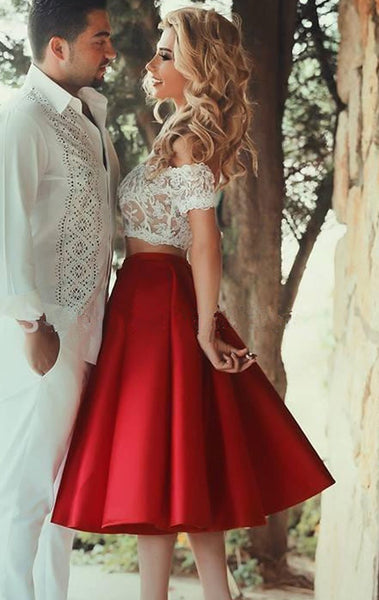 MACloth Two Piece Off the Shoulder Short Prom Homecoming Dress Red Lace Satin Wedding Party Dress