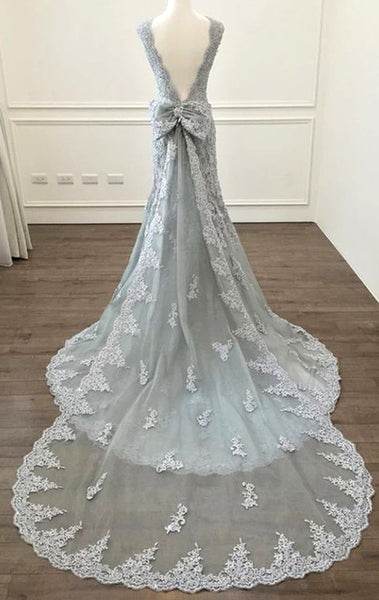 MACloth Mermaid O Neck Lace Long Prom Dress Silver Formal Evening Gown 10800