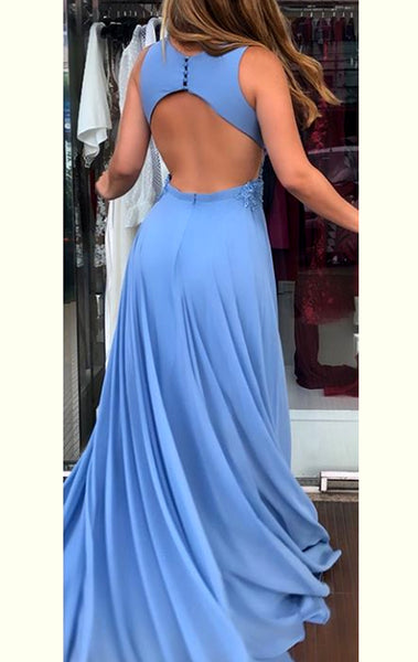 MACloth Deep V Neck Chiffon Lace Long Prom Dress Blue Formal Evening Gown