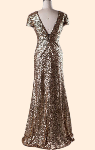 MACloth Cap Sleeves V Neck Sequin Long Bridesmaid Dress Gold Formal Evening Gown 10803