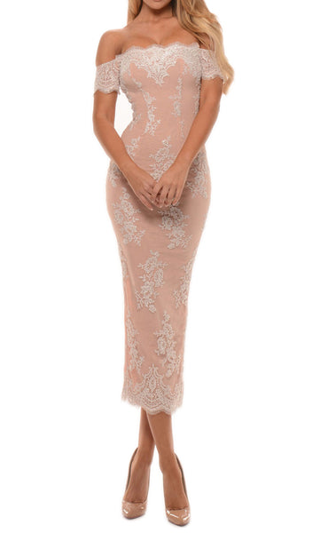 MACloth Off the Shoulder Lace Midi Prom Dress Tea Length Cocktail Dresses