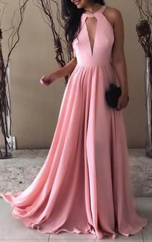 MACloth Halter O Neck Chiffon Long Prom Dress Pink Wedding Party Bridesmaid Gown