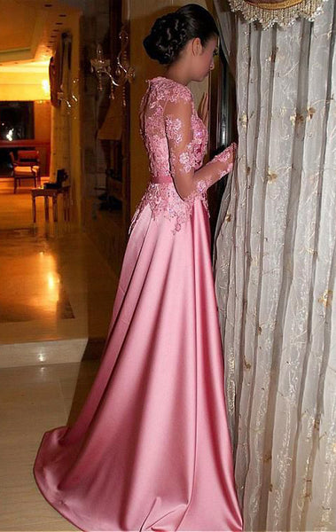 MACloth Long Sleeves Lace Satin Maxi Prom Dress Pink Formal Evening Gown