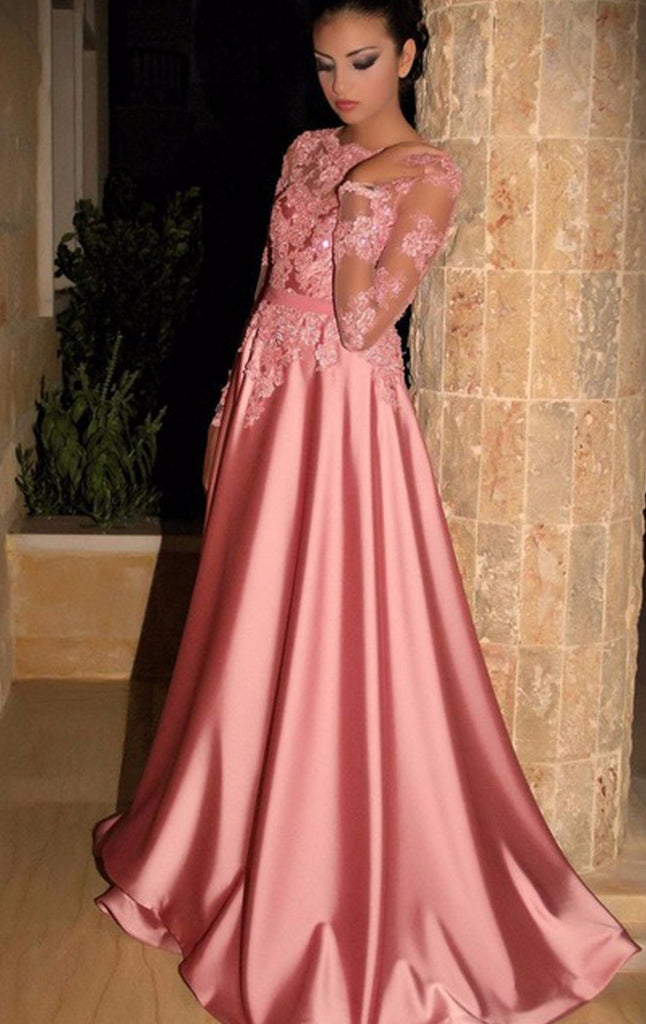 5c6c70d6fb68 MACloth Long Sleeves Lace Satin Maxi Prom Dress Pink Formal Evening Go