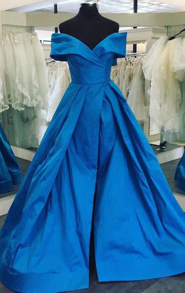 MACloth Off the Shoulder High Low Taffeta Prom Dress Royal Blue Formal Evening Gown