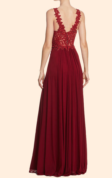 MACloth Lace Straps Deep V Neck Long Prom Dress Burgundy Formal Evening Gown 10810