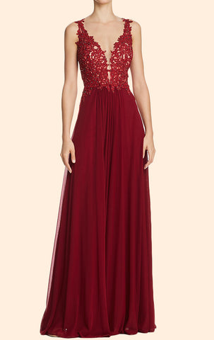 ae9b65ecf868 MACloth Lace Straps Deep V Neck Long Prom Dress Burgundy Formal Evening Gown  10810 ...