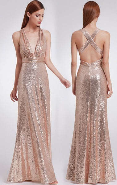 MACloth Halter Deep V Neck Sequin Long Bridesmaid Dress Gray/Rose Gold Formal Evening Gown