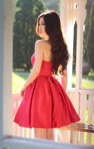 MACloth  Strapless Sweetheart Mini Prom Homecoming Dress Red Wedding Party Formal Gown 10813