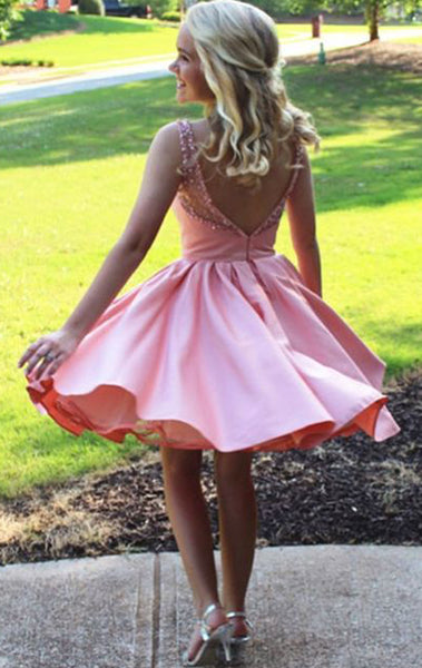 MACloth Straps O Neck Sequin Satin Mini Prom Homecoming Dress Pink Wedding Party Formal Gown