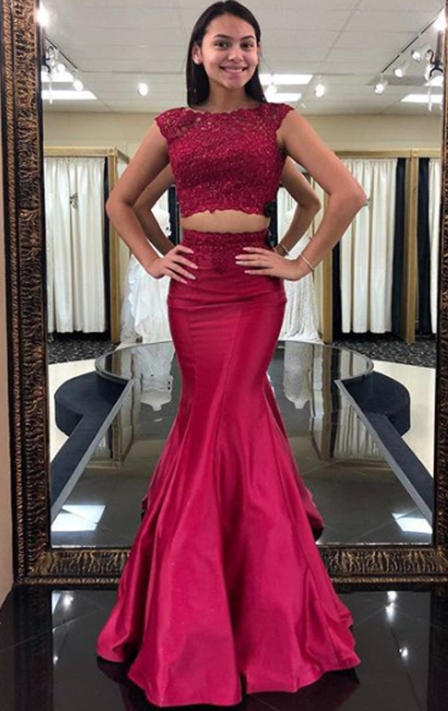 MACloth Mermaid 2 Piece Lace Satin Long Prom Dress Wine Red Formal Evening Gown