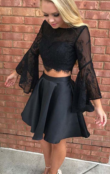 MACloth Two Piece Long Sleeves Lace Satin Mini Prom Homecoming Dress Black Wedding Party Dress