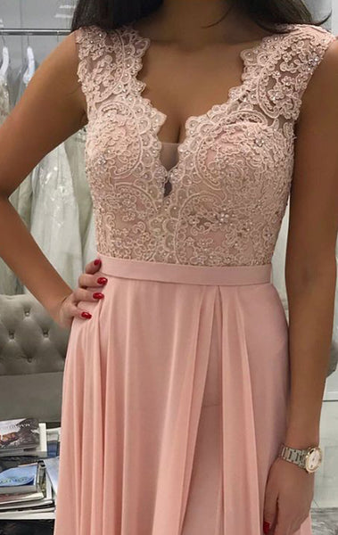 MACloth V Neck Lace Chiffon Long Prom Dress Pink Formal Evening Gown