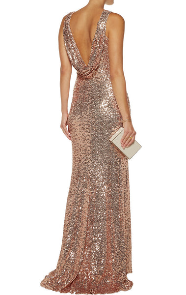 MACloth High Neck Sequin Rose Gold Formal Dress Simple Prom Gown with Slit