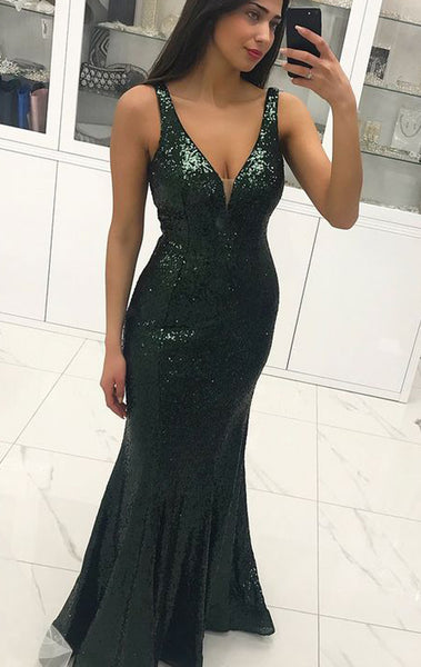MACloth Sheath V Neck Sequin Long Prom Dress Dark Green Wedding Party Formal Evening Gown