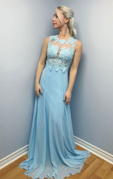 MACloth Straps O Neck Lace Chiffon Long Prom Dress Sky Blue Formal Evening Gown