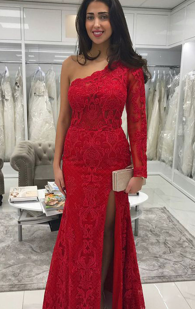 MACloth Sheath Long Sleeves One Shoulder Lace Prom Dress Red Wedding Party Evening Formal Gown