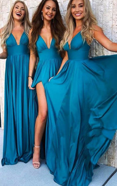 MACloth Straps V Neck Jersey Long Bridesmaid Dress Simple Prom Gown