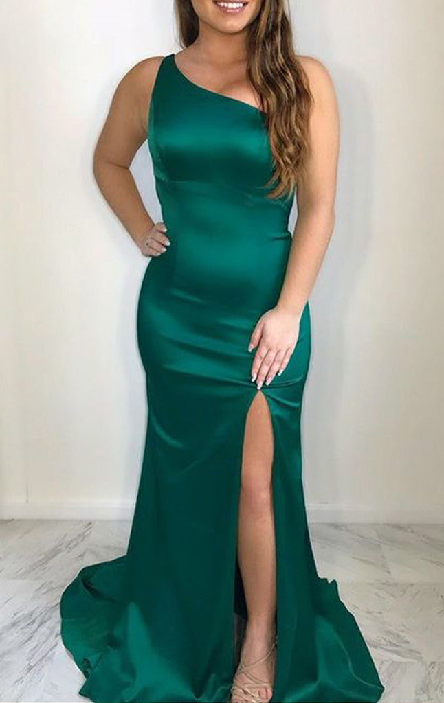 MACloth Mermaid One Shoulder Satin Long Prom Dress Green Formal Evening Gown