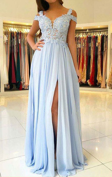 MACloth Off the Shoulder Lace Chiffon Long Prom Dress Sky Blue Formal Evening Gown