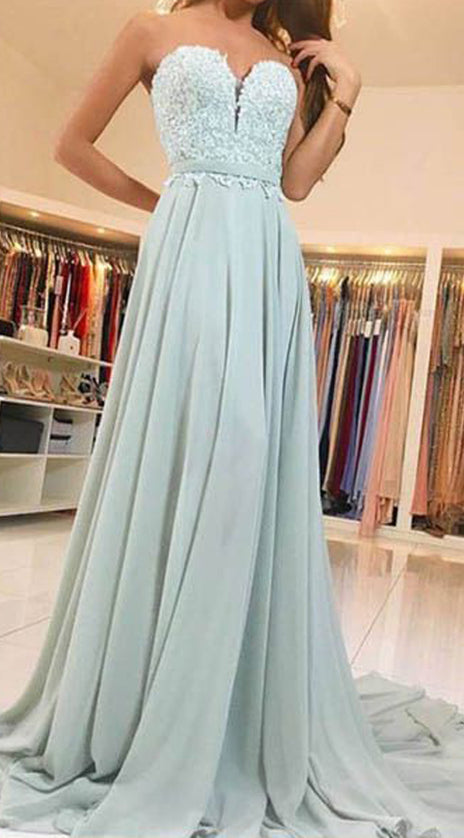 MACloth Strapless Sweetheart Lace Chiffon Long Prom Dress Mint Formal Evening Gown