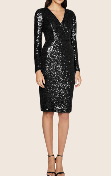 MACloth Long Sleeves Sequin Cocktail Dress with Open Back Midi Formal Gown