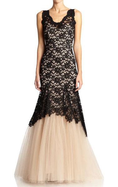 MACloth Mermaid Straps V Neck Lace Tulle Prom Dress Two Tone Formal Gown