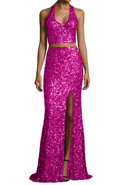 MACloth Mermaid Two Piece Sequin Long Prom Dress Fuchsia Evening Formal Gown