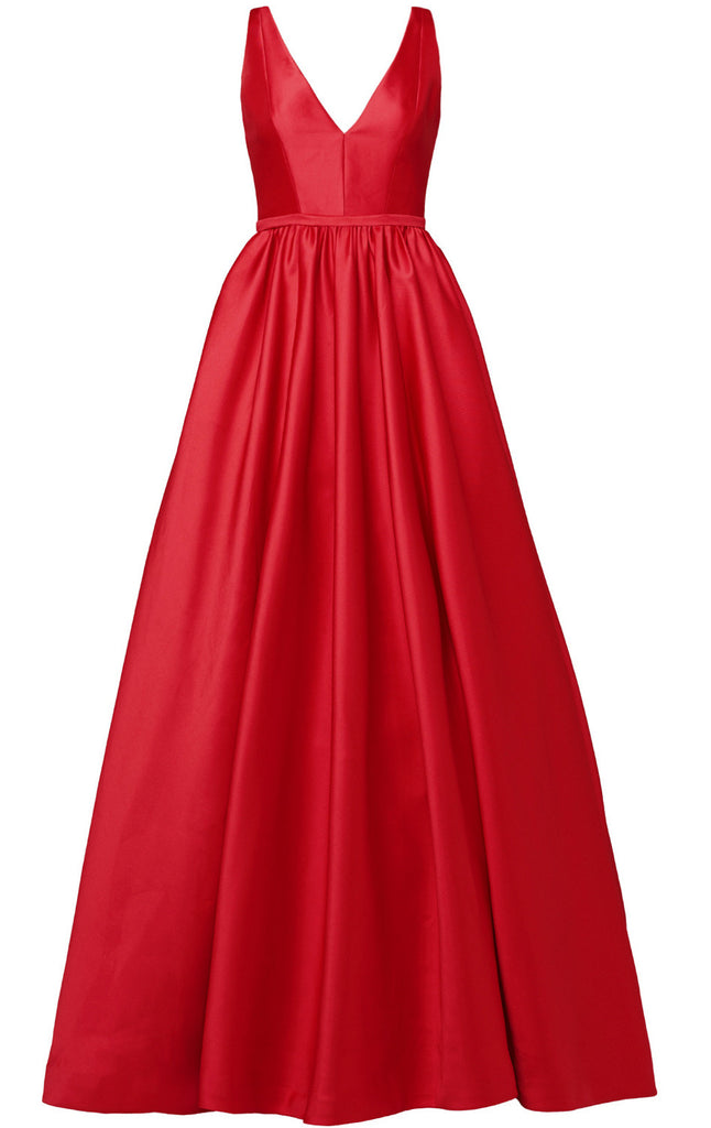 MACloth Straps V Neck Ball Gown Satin Red Long Prom Dress with Sweep T