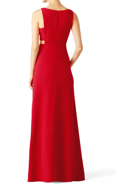 MACloth Straps O Neck Red Cut Out Long Evening Formal Gown Simple Prom Dress