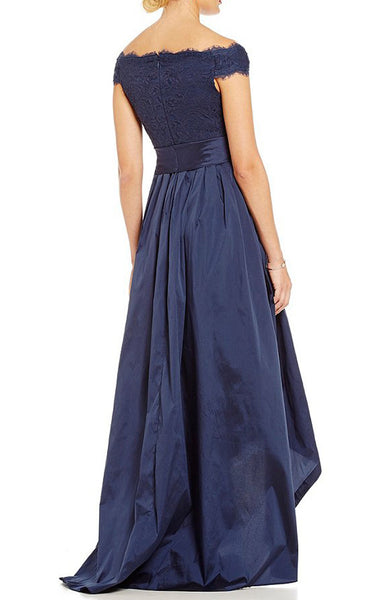MACloth Off the Shoulder Hi Lo Evening Gown Dark Navy Prom Formal Dress