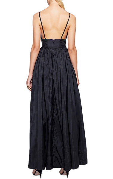 MACloth Straps V Neck Taffeta Black Formal Gown Simple Prom Dress