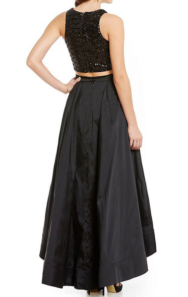 MACloth Two Piece Sequin Prom Dress High Low Cocktail Formal Gown