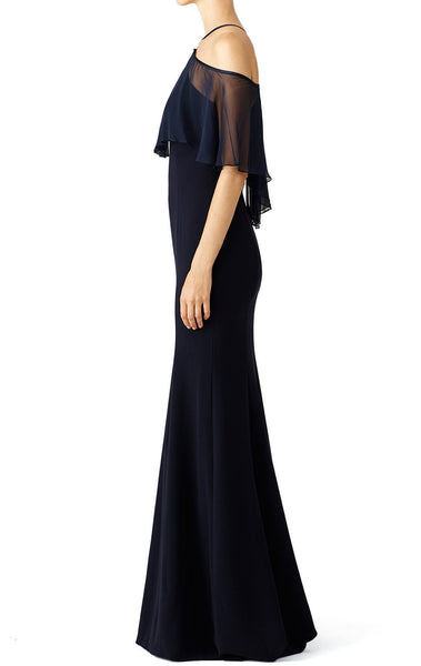 MACloth Off the Shoulder Ruffled chiffon Jersey Evening Gown Dark Navy Simple Prom Dress