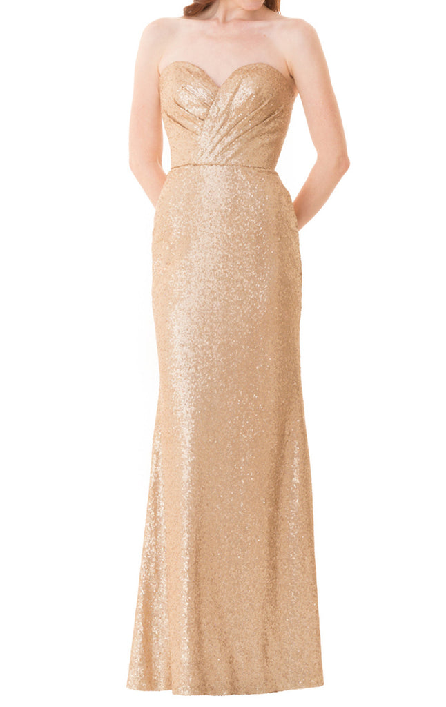 MACloth Mermaid Strapless Rose Gold Bridesmaid Dress Sequin Formal Evening Gown