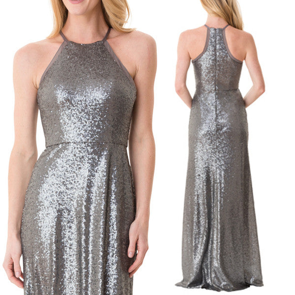 MACloth Halter Sequin Long Bridesmaid Dress Gray Formal Evening Gown