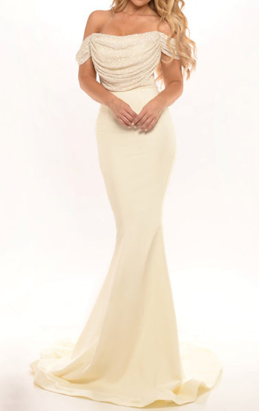 MACloth Mermaid Off the Shoulder Sequin Jersey Long Prom Dress Sexy Bridesmaid Dress