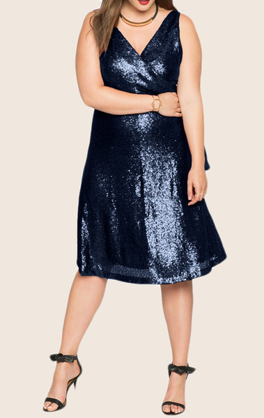 MACloth Straps V Neck Sequin Midi Cocktail Dress Plus Size Dark Navy Formal Gown